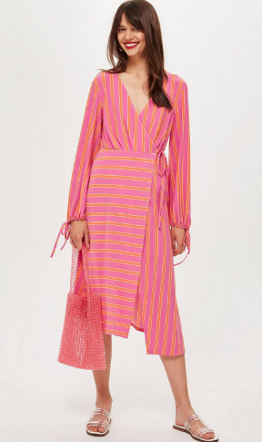 Topshop Striped Pink Wrap Dress