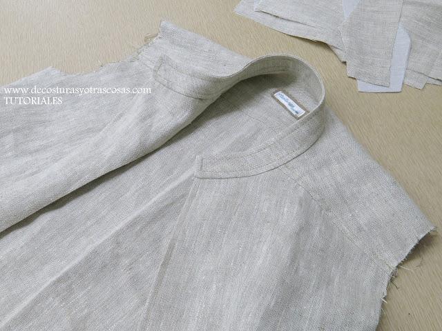cuello de tira con forma redondeada para chaqueta