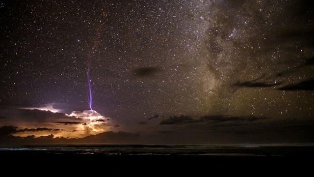 First place, over 16s category: 'Sprite Lightning' by Ben Cherry, captured over the Pacific Ocean, off the coast of Costa Rica.