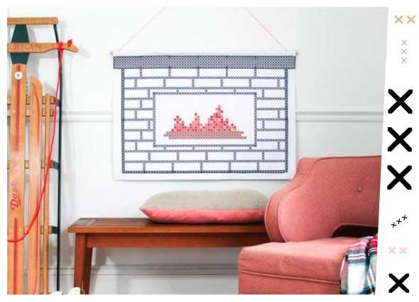 chimeneas falsas, tapiz falso chimeneas a punto de cruz, manualidades, chimeneas de cartón