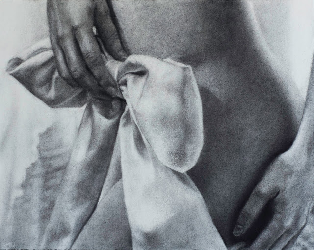 charcoal, drawing, black and white, bow, nude,