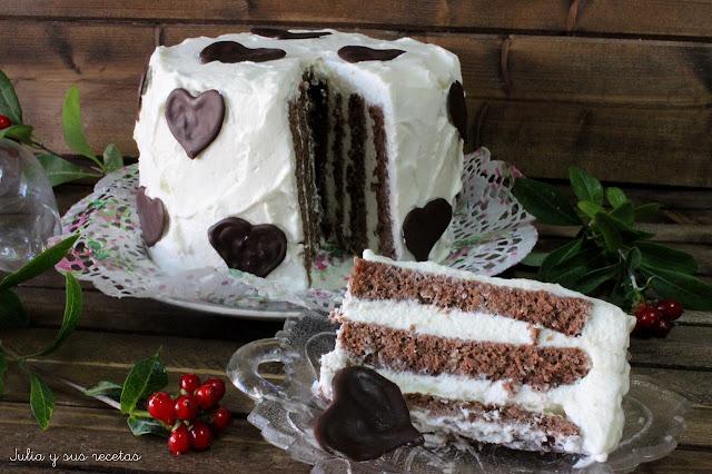 Tarta espiral de chocolate y nata