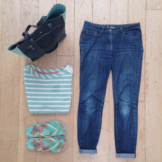 What Lizzy Loves.Jeans, breton top, floral flip flops.
