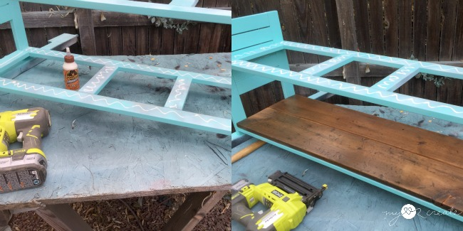 gluing and nailing on bench seat and shelf boards