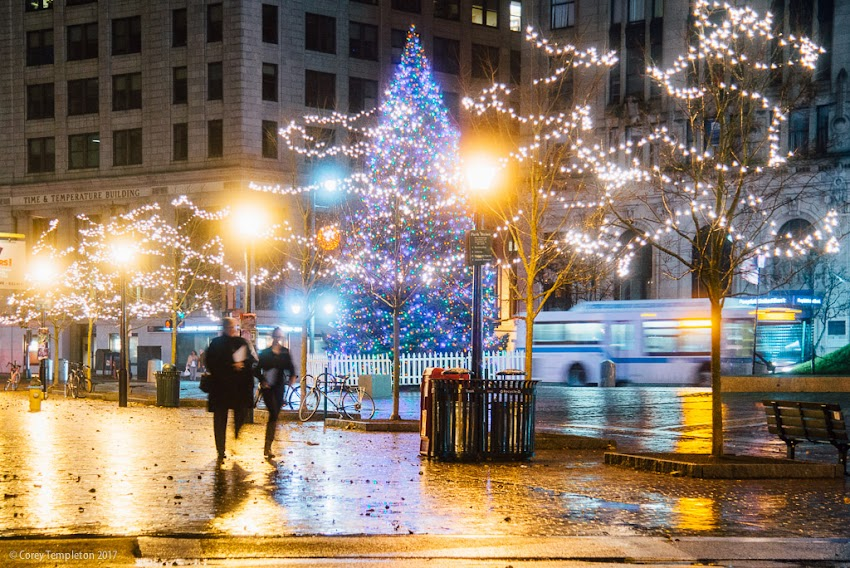 Portland, Maine USA December 2017 photo by Corey Templeton. Other than the warm rain this evening, Monument Square is looking all appropriately decorated for the holidays.