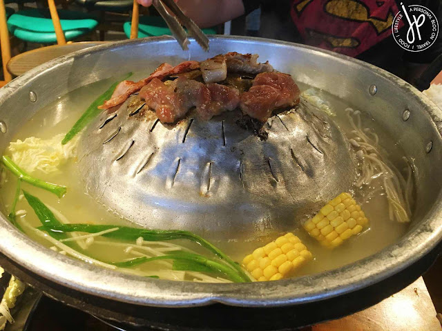 shabu-shabu type soup and grilled meat