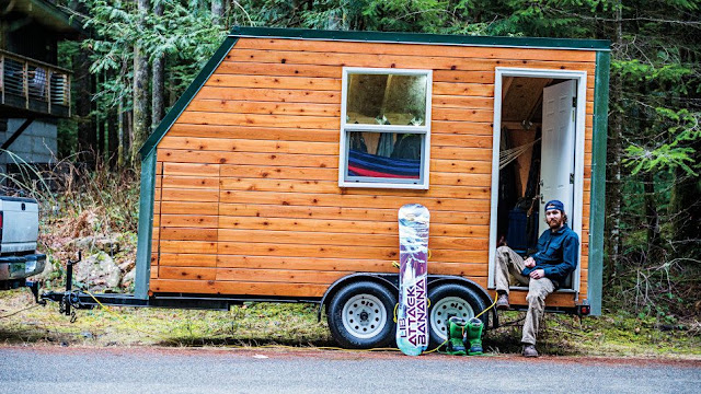 snowboarders tiny house