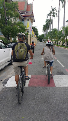 Hang it on your bicycle while riding bike