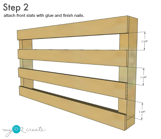 Step two in building magazine rack, attaching font slats