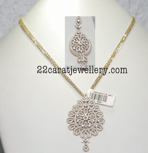 Malabar Gold Simple Diamond Necklace Designs With Price
