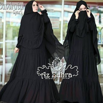 Model Gamis Syar I Hitam Polos Elegan Modern Terbaru