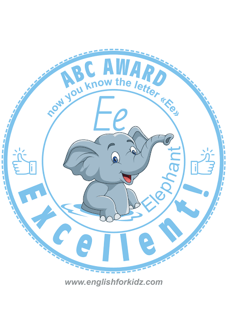 Printable English alphabet learning award -- letter E is for elephant