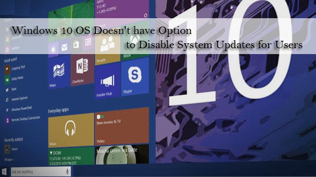 Windows 10 OS Doesn't have Option to Disable System Updates for Users