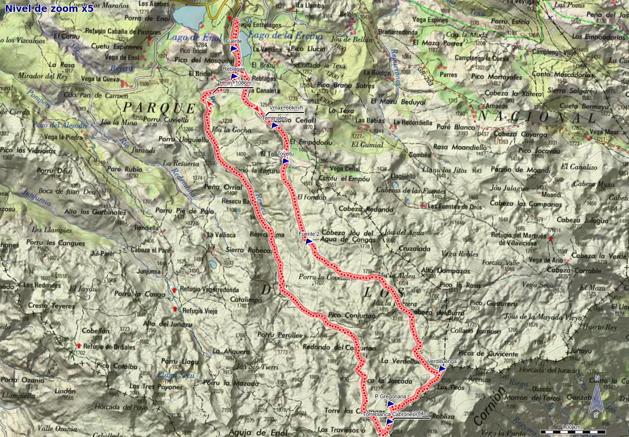 Mapa de la ruta Ercina, Verdilluenga