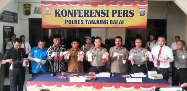 Temu pers pemaparan kasus narkoba di Polres Tanjungbalai.