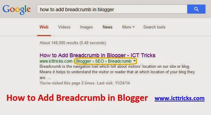 How to Add Breadcrumb in Blogger
