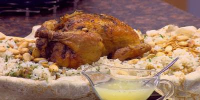 فتة دجاج محشي بالفريك و الأرز