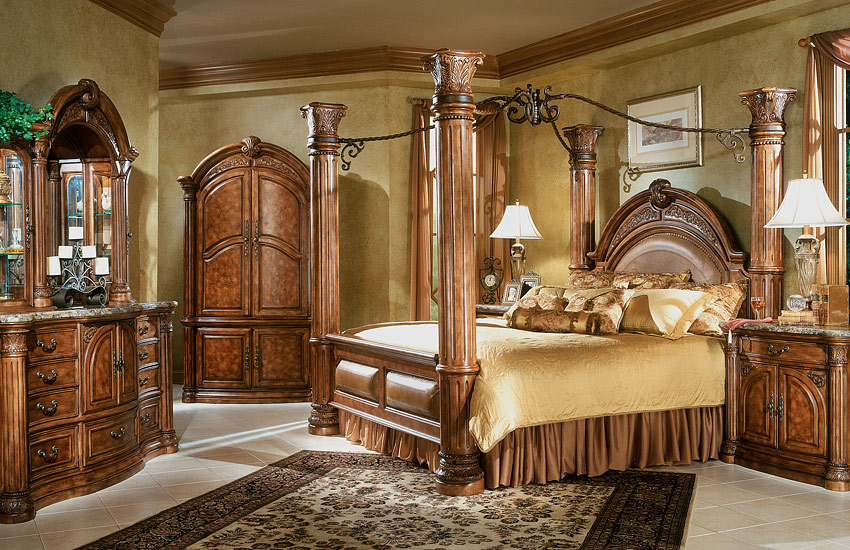 Monte Carlo Bedroom Set: Aico Monte Carlo Canopy Bed