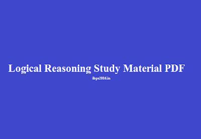 Logical Reasoning Study Material PDF