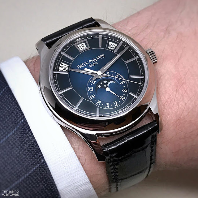 Patek Philippe Ref. 5205G-013 Annual Calendar Blue Dial on the wrist