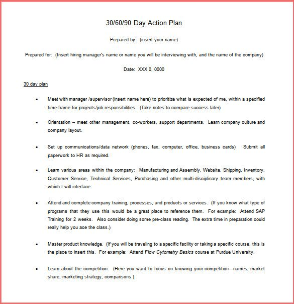 Resume Business Template 30 60 90 Plan Template Free 2016