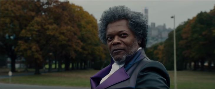 Glass 2019 movie featuring Samuel L. Jackson as Elijah Price aka Mr. Glass