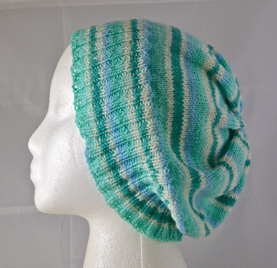 mint green striped hat for sale at https://www.etsy.com/shop/JeannieGrayKnits
