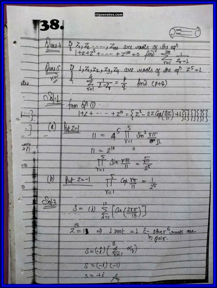 IITJEE Competition Notes On Complex Number 38