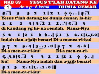 Lirik dan Not NKB 69 Yesus T'lah Datang Ke Dunia Cemar
