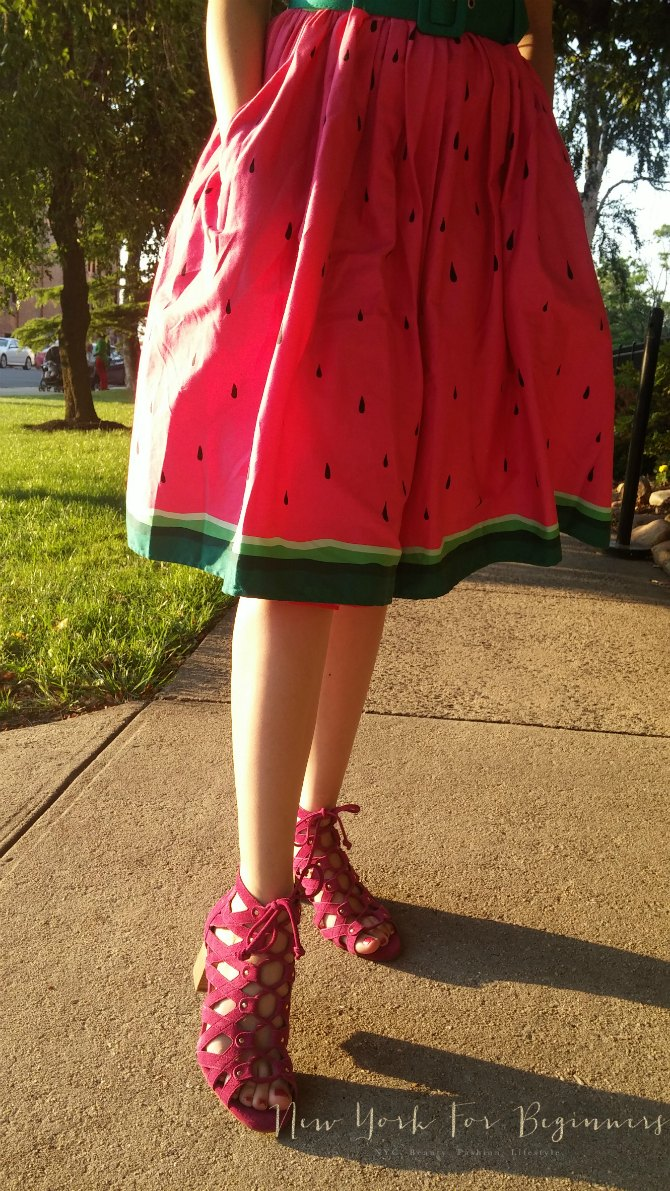 Rockability watermelon dress and Aerosoles Middle Ground sandals summer look