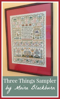 Moira Blackburn Three Things cross stitch sampler completed