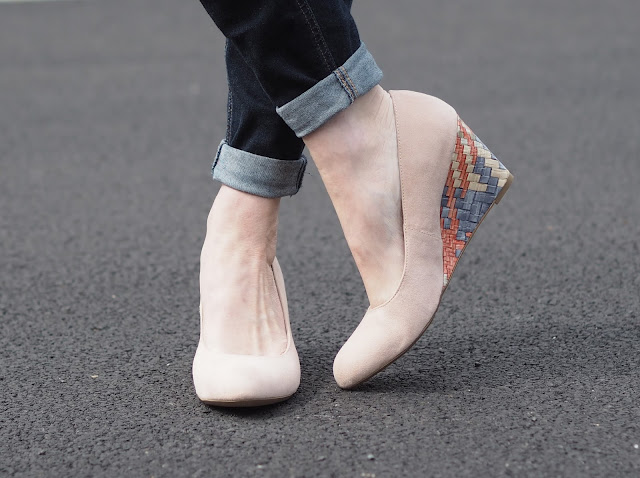 Nude suede wedge shoes with multi-coloured heel