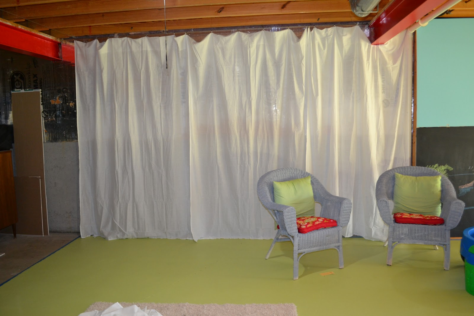 Basement Playroom Update And Wire Curtain Rod Diy Sunny