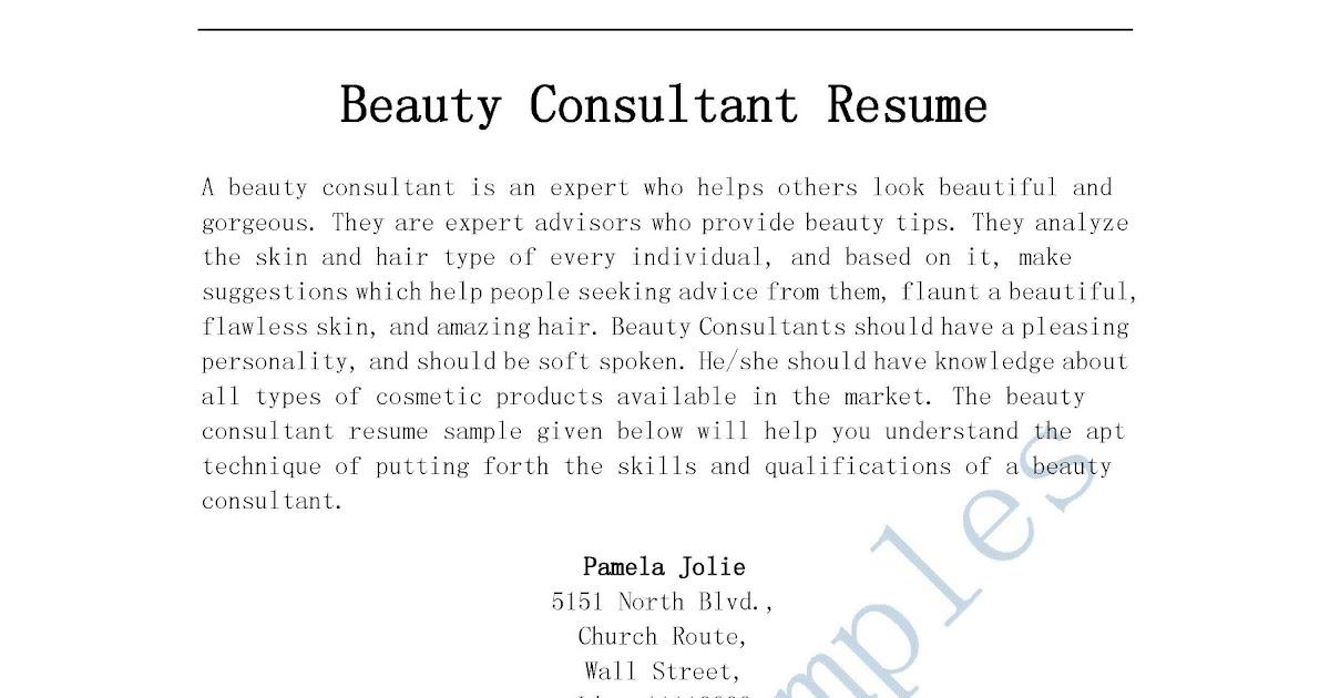 Beauty Advisor Resume Sample