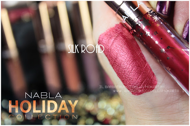silk road swatches  liquid lipstick  nabla rossetto liquido