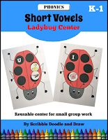 Learn short vowels with this hands on ladybug center