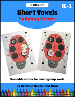 Interactive hands on ladybug vowel center