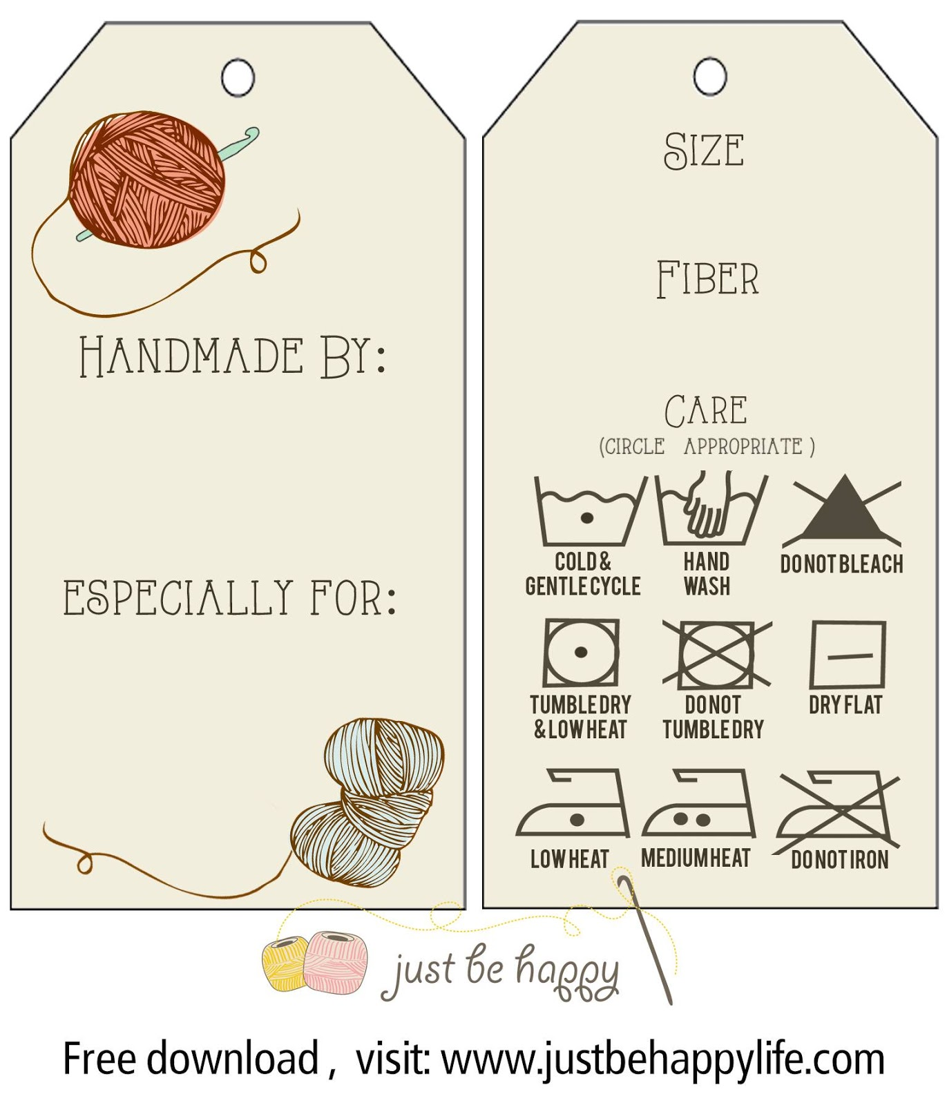 Just Be Happy T Tags Free Printables