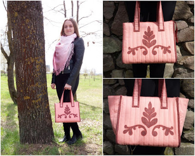 розово-бордовая сумка