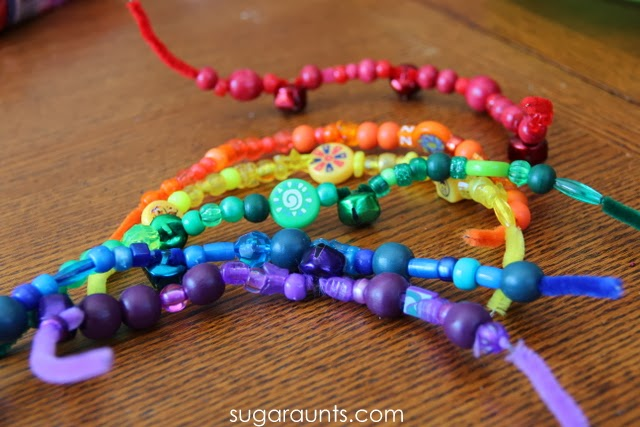 Rainbow pipe clearners and beads