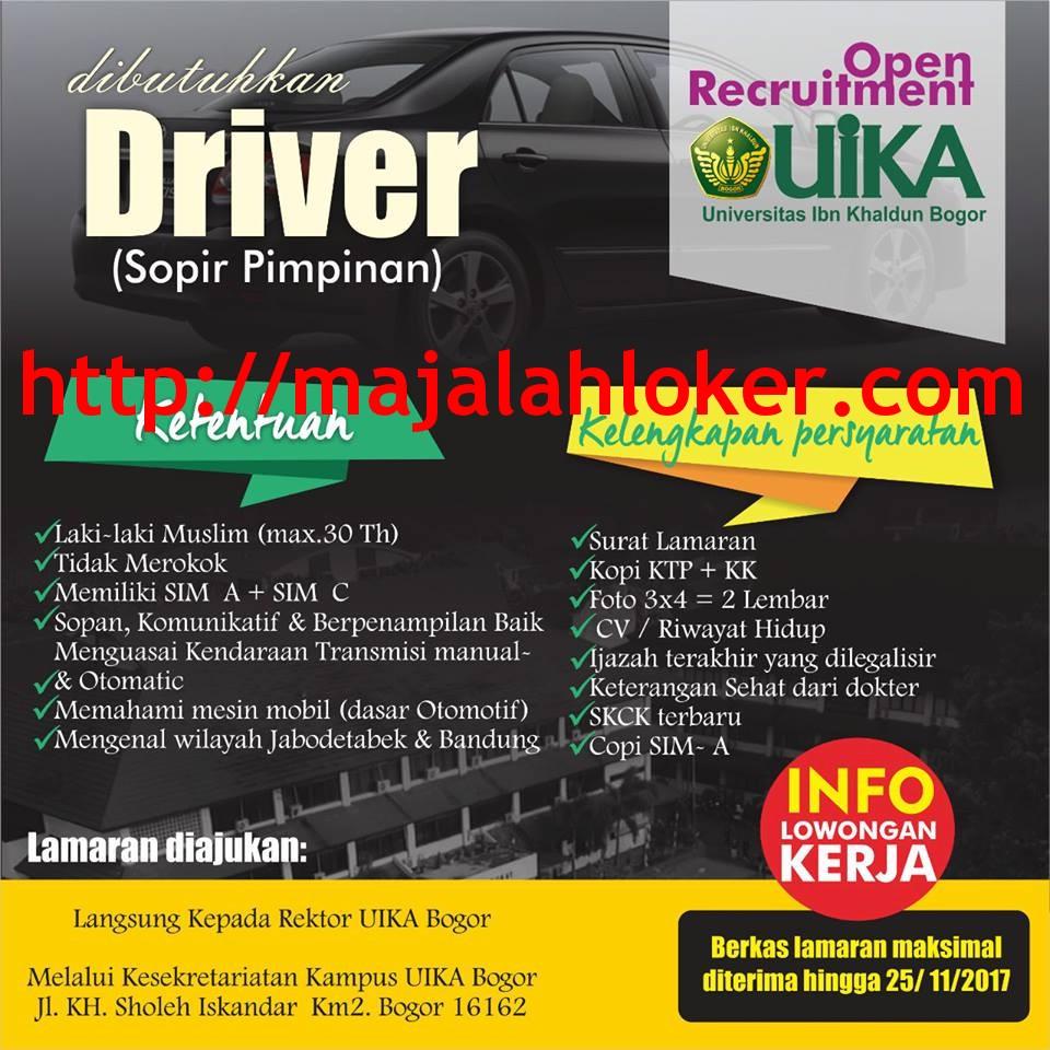 Lowongan Driver (Sopir Pimpinan) Universitas Ibn Khaldun (UIKA) Bogor