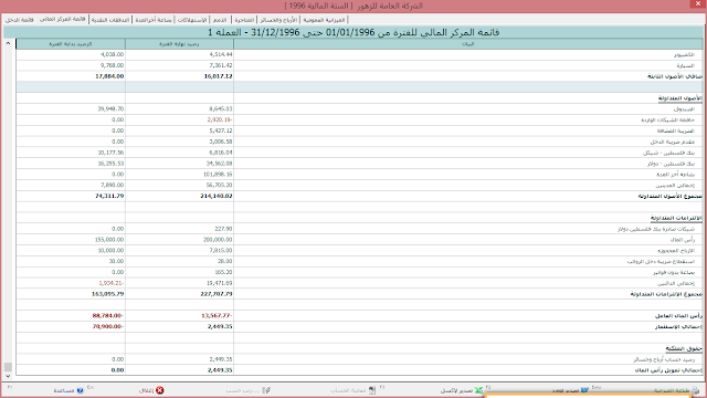 برنامج الاصيل الذهبي للمحاسبة والمستودعات-القوائم المالية المستخدمة