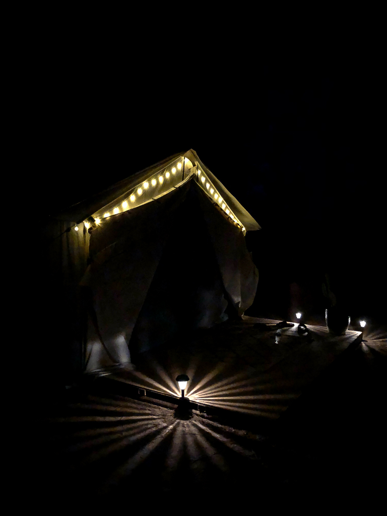 glamping at night
