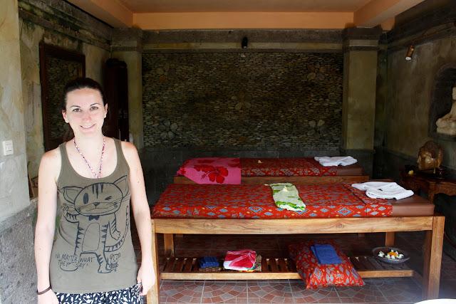 En la sala de masajes del hotel Bunga Permai (Ubud)