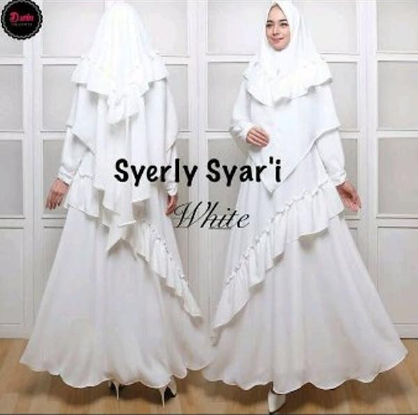 Gamis Putih Syari Cotton Cantik Baju Muslim Gamis
