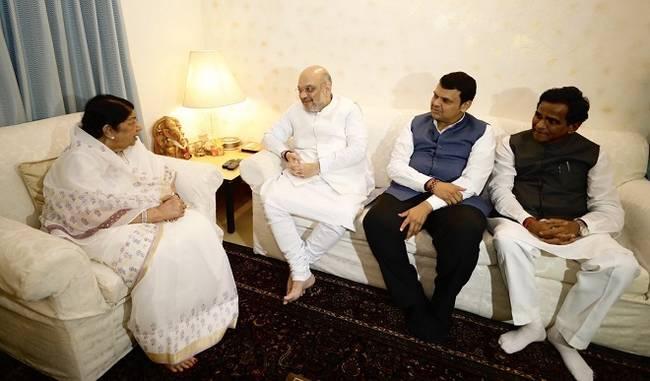 अमित शाह ने मुंबई में लता मंगेशकर से मुलाकात की