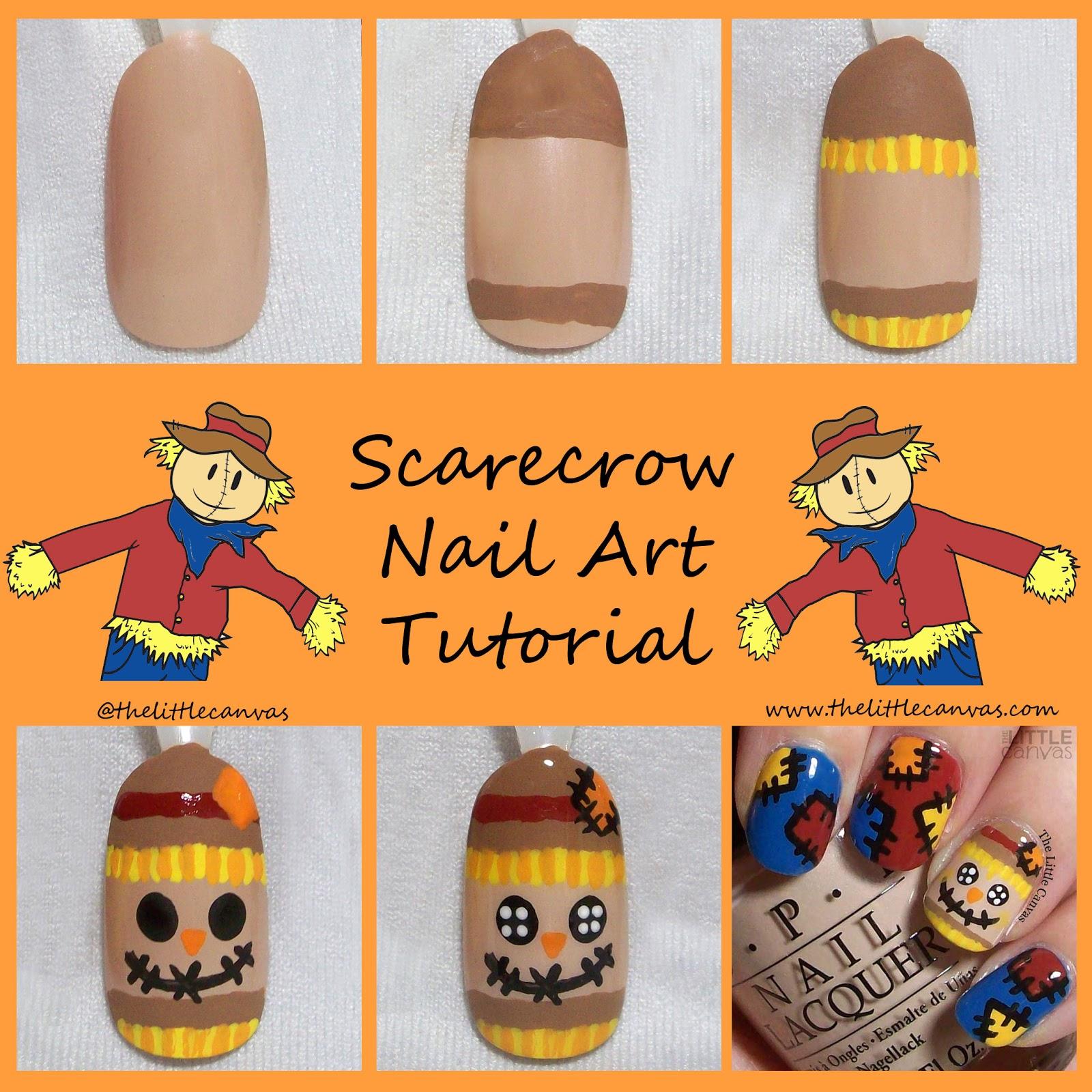 Scarecrow and Scarecrow Patchwork Nail Art Tutorials ...