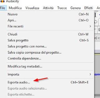 Esporta audio Audacity