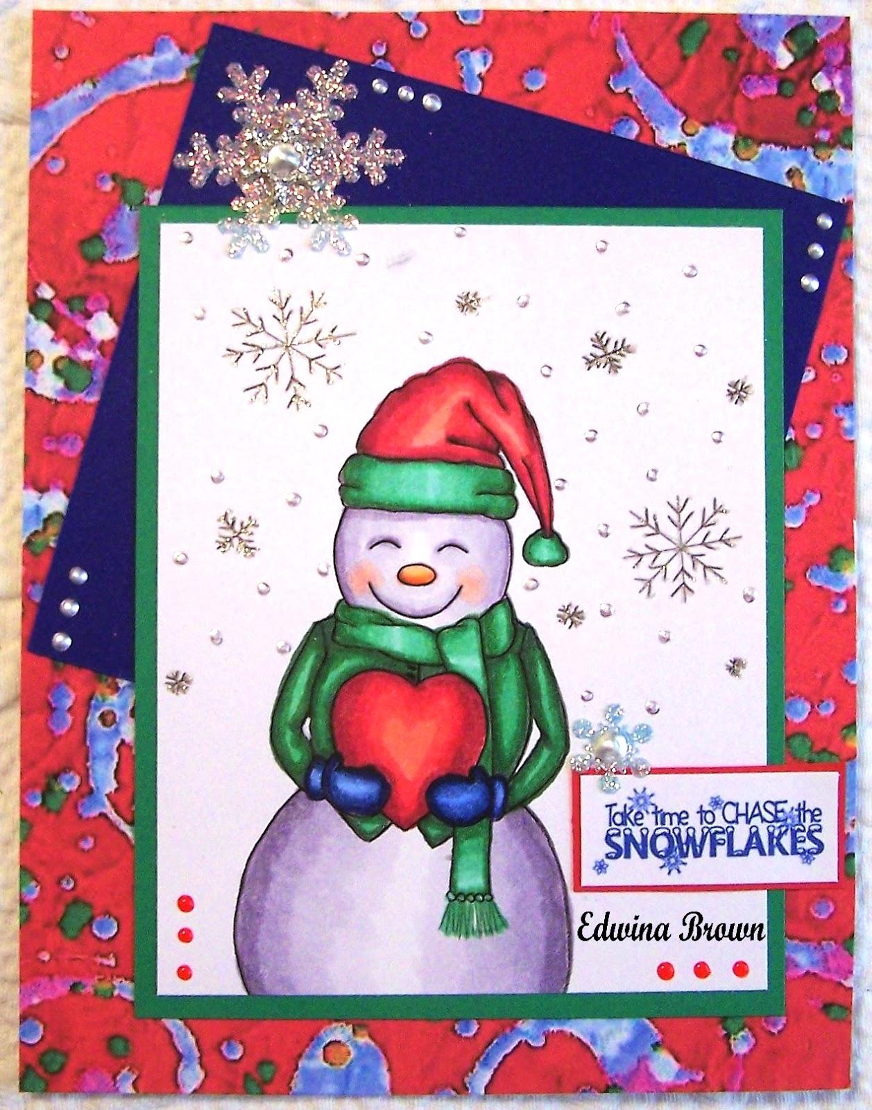Copics used are BV0000, BV000, V22, R20, R30- snowman, YR01, YR04, YR09-  nose, G000, G02, G03, G07, G28, R22, R29, R35, R59, B32, B34, B37, B39-  outfit, ...