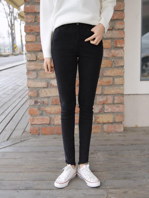 Fringed Cutout Cuffs Skinny Pants
